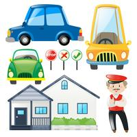 Set of cars and house