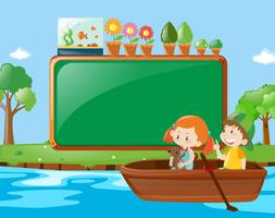 Frame design with kids rowing boat