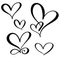 establecer los amantes del corazón. Vector de caligrafía hecha a mano. Decoración para tarjetas de felicitación, tazas, superposiciones de fotos, estampado de camisetas, folleto, diseño de carteles