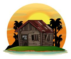 Background scene with old wooden house on island