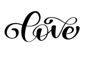 dell'iscrizione dell'amore di parola sulla tipografia disegnata a mano di giorno di biglietti di S. Valentino isolata sui precedenti bianchi. Iscrizione di calligrafia inchiostro pennello divertente per inverno invito biglietto di auguri o stampa
