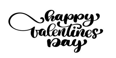 Affiche de typographie Happy Valentines Day avec texte de calligraphie manuscrite, isolé sur fond blanc. Illustration vectorielle Typographie encre amusante à la brosse pour superpositions de photos, impression de t-shirt, flyer, affiche