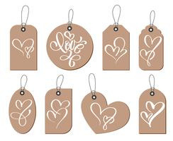 Kraft gift tags with the inscription love and two heart. Collection of hand drawn cute Valentines Day, marriage, wedding, birthday, love, romantic theme