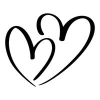 Dos amantes del corazón. Vector de caligrafía hecha a mano. Decoración para tarjetas de felicitación, tazas, superposiciones de fotos, estampado de camisetas, folleto, diseño de carteles