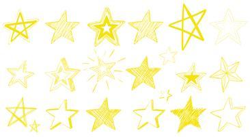Diseño Doodle para estrellas amarillas.
