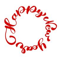 Happy New Year hand-lettering text written in a circle. Handmade vector Christmas calligraphy EPS. Decor for greeting card