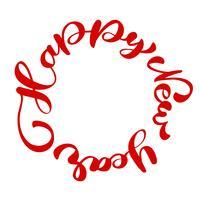 Feliz año nuevo texto de letras a mano escrito en un círculo. Vector hecho a mano de Navidad caligrafía EPS. Decoración para tarjeta de felicitación.