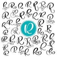 Impostare la lettera R. calligrafia fiorire di vettore disegnato a mano. Font script Lettere isolate scritte con inchiostro. Stile del pennello scritto a mano. Iscrizione a mano per poster di design packaging loghi
