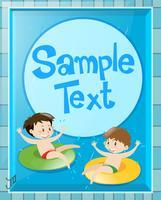 Diseño de papel con niños en la piscina.