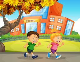 Children Running in Front of School