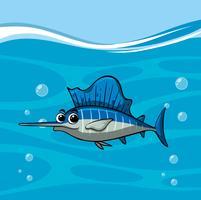 Il pesce spada nuota nell'oceano