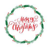 Testo di lettering calligrafia di buon Natale e una corona con rami di abete. Illustrazione vettoriale