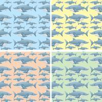 Naadloos ontwerp als achtergrond met wilde haaien