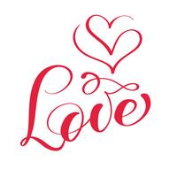 Palabra roja del vector de las letras de la caligrafía del amor con el logotipo de corazones. Tarjeta de feliz día de San Valentín. Divertida tipografía con tinta de pincel para superposiciones de fotos, estampado de camisetas, diseño de póster