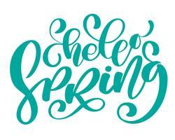 Vector mano dibujada Hola primavera texto motivacional e inspiracional estación cita. Tarjeta caligráfica, taza, superposiciones de fotos, estampado de camisetas, folleto, diseño de carteles