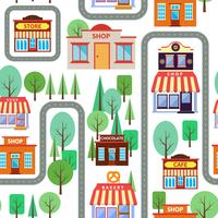 Seamless happy village houses retro new home background pattern