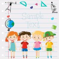 Diseño de papel con niños y equipamiento científico.