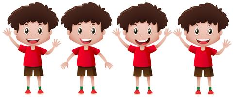 Boy in red doing different actions