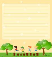 Plantilla de papel de línea con niños jugando en el parque