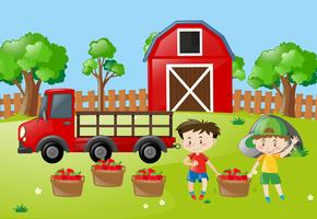 Escena de la granja con dos niños con manzanas en la cesta