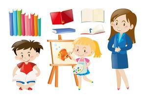 Profesor y alumnos con objetos escolares.