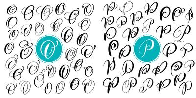Set letter O, P. Hand drawn vector flourish calligraphy. Script font. Isolated letters written with ink. Handwritten brush style. Hand lettering for logos packaging design poster
