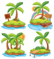 A Set of Island on White Background