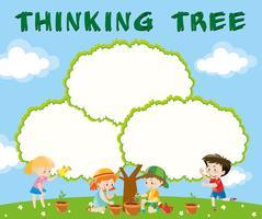Modèle de frontière avec les enfants à planter des arbres