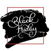 Testo di calligrafia del Black Friday sul fondo nero dell'acqua di colore della spazzola. Illustrazione di vettore di lettering disegnato a mano
