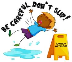 Caution sign for wet floor with boy falling