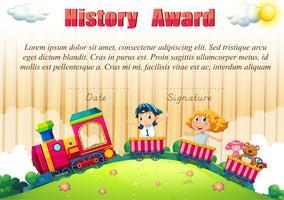 Modelo de certificado com as crianças no trem