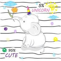 cute little elephant unicorn