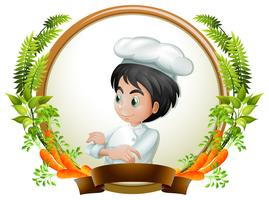 Male chef in round banner