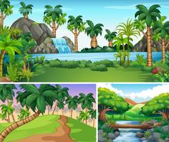 Tre scener av flod och vattenfall