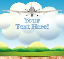 Airplane Flying Over Beautiful Landscape Template vector