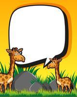 Plantilla de frontera con jirafas en campo