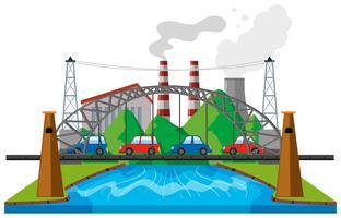 Escena de la ciudad con los coches en el puente