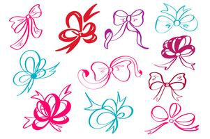 Doodle style decorative multicolor ribbon and bow vector illustration