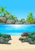 Oceaanscène met eiland en strand