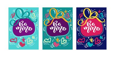 Text Be mine for Valentines day greeting card set with hearts. Gift tags. Hand drawn hearts. Design for valentine and wedding. Memphis style