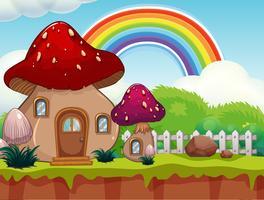 Uma casa de cogumelo bonito dos desenhos animados