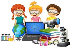 Student with school element vector