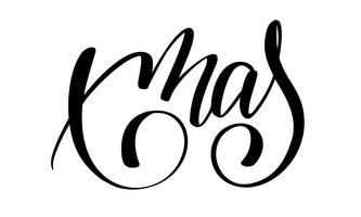 xmas calligraphy lettering word. Christmas and New Year holidays. Vector illustration EPS. Decor for greeting card