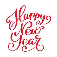 Happy New Year hand-lettering text. Handmade vector calligraphy