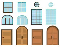 Different styles of windows and doors vector