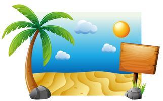Escena de verano con playa y arbol.