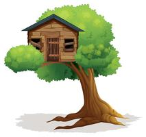 Wooden treehouse on the tree
