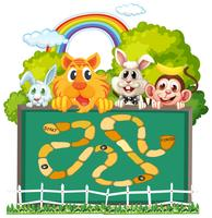 Cute animals board game template