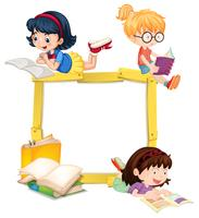 Girls Reading Book Wooden Frame