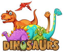 Modelo de etiqueta com muitos tipos de dinossauros